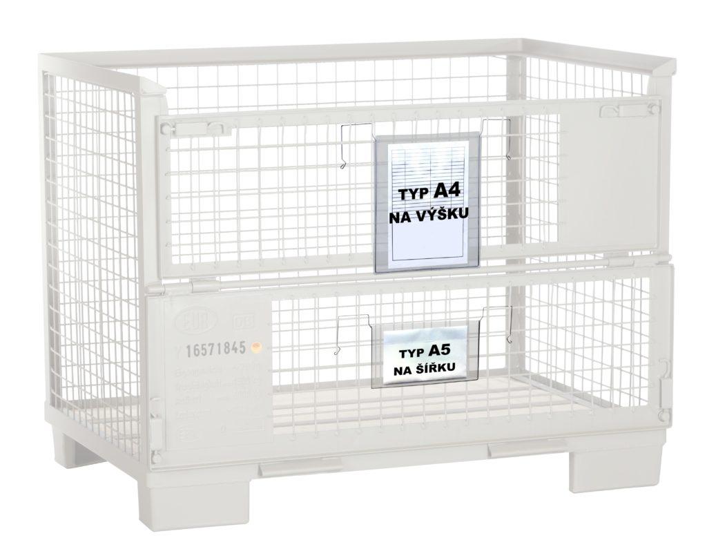 Gitterbox a závěsná kapsa s drátěným úchytem A5 a A4